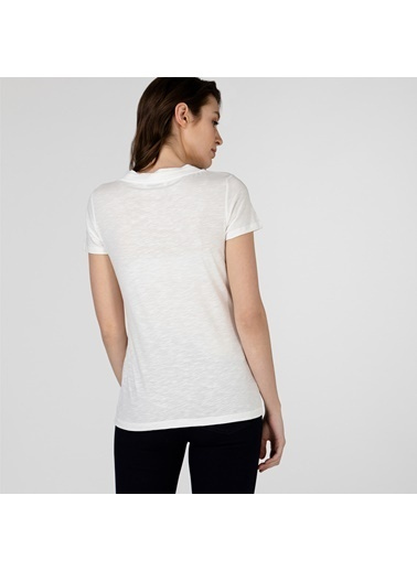 Lacoste Kadın Slim Fit Tişört TF0132.32B Beyaz